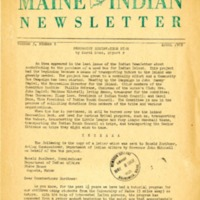 Maine Indian Newsletter (April 1969)